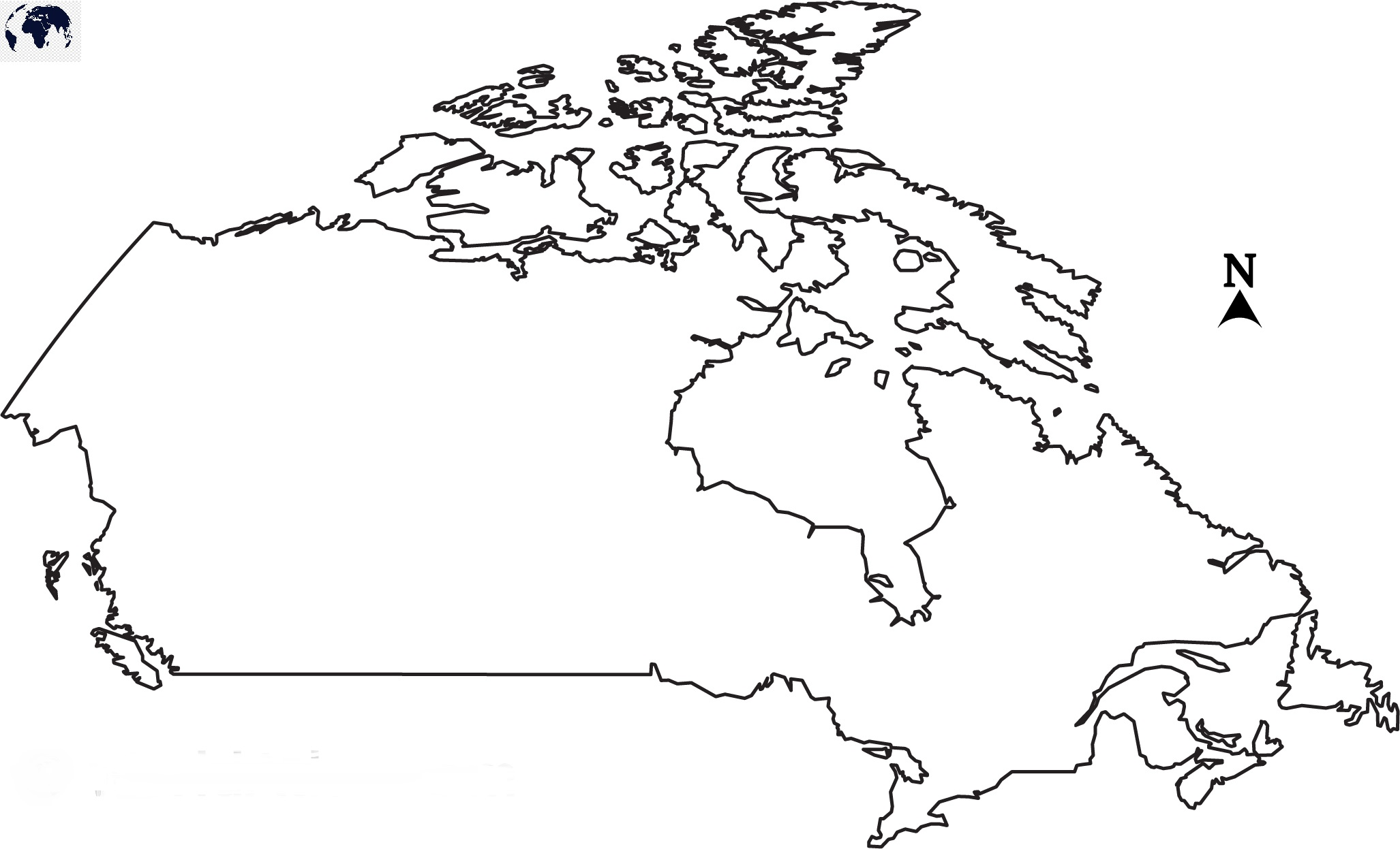 Blank Map of Canada - Outline
