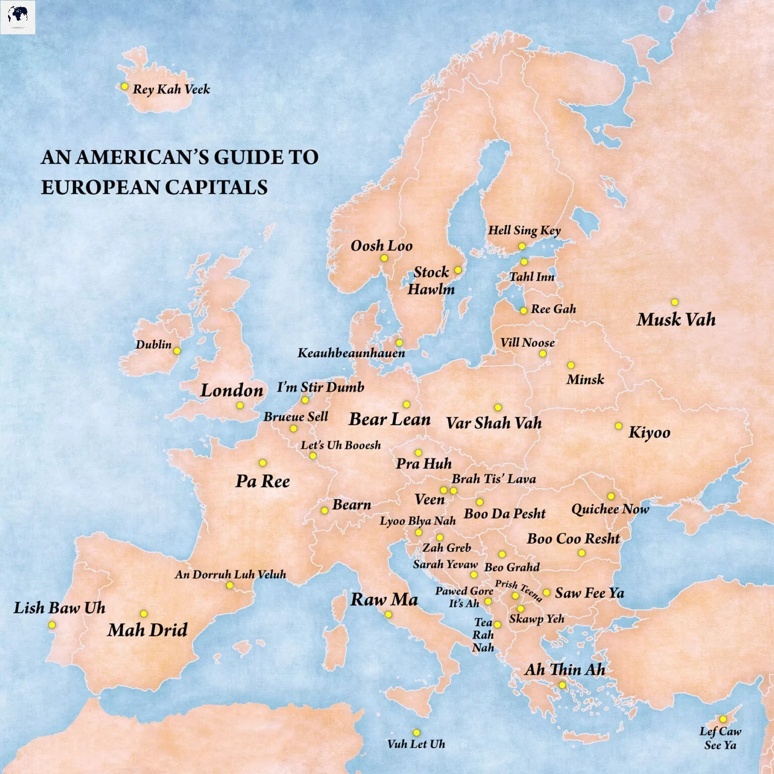 Europe Map with Capitals Labeled