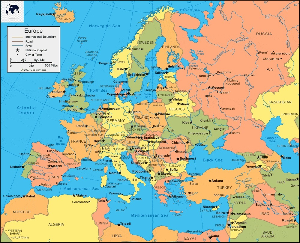 Labeled Europe Map
