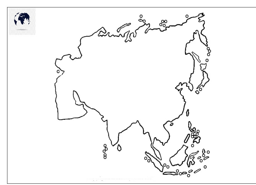 Map of Asia for Practice Worksheet