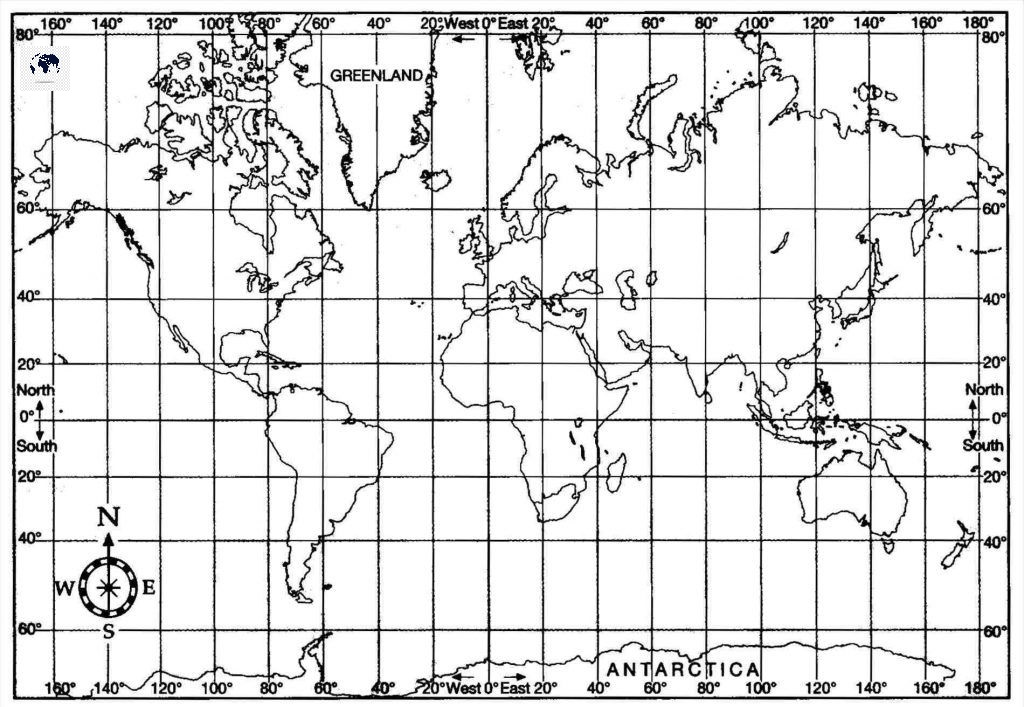 World Map with Longitude and Latitude Degrees Coordinates
