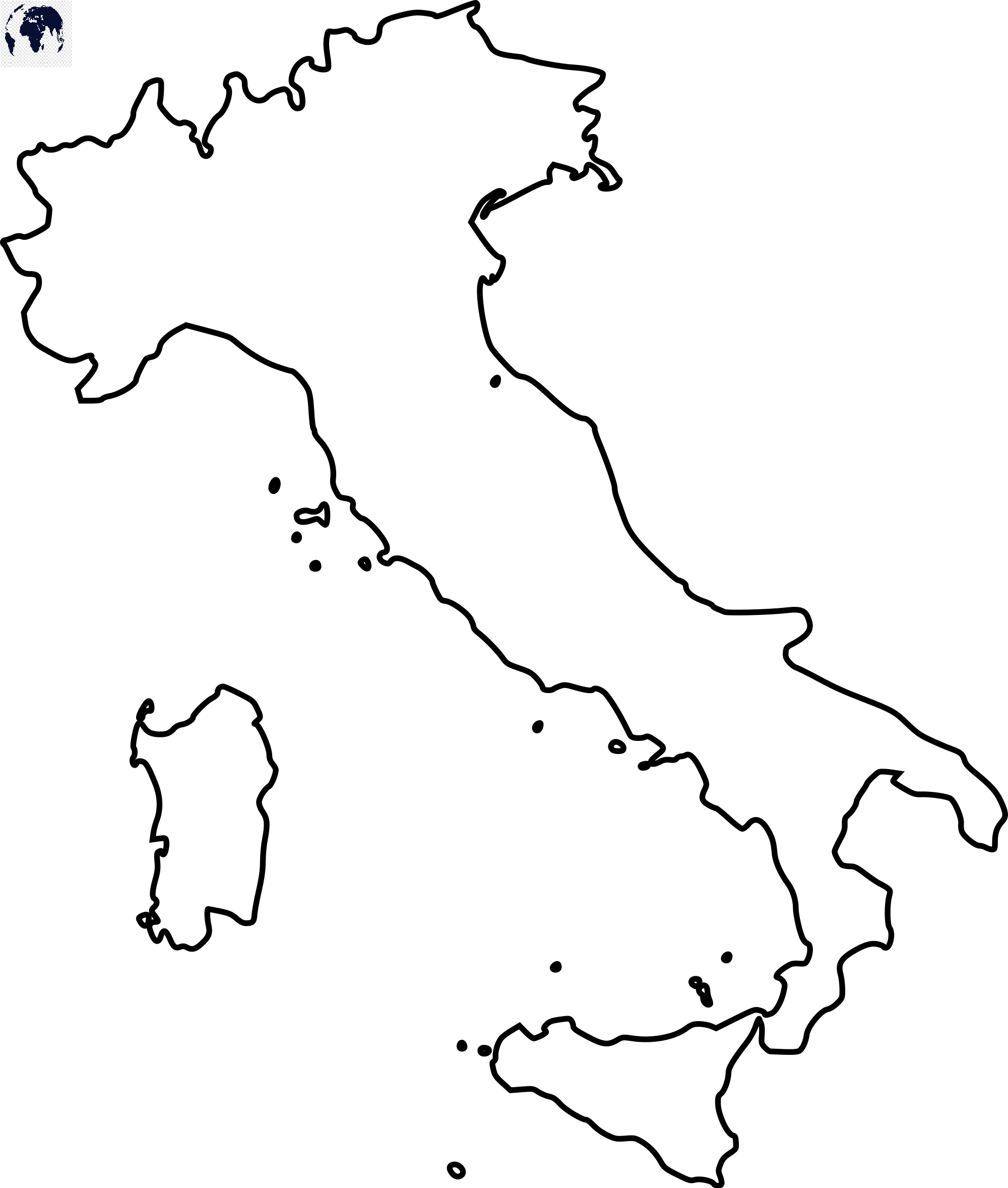 Blank Map of Italy - Outline