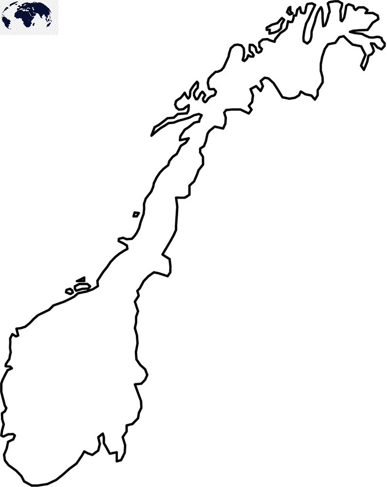 Blank Map of Norway - Outline