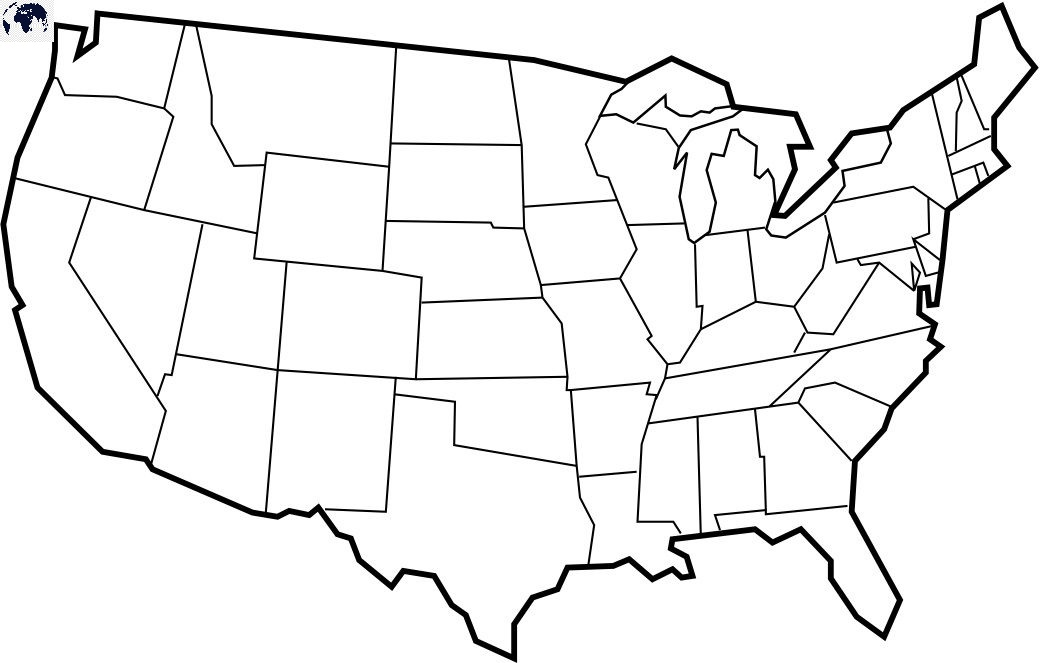 Map of America for Practice Worksheet