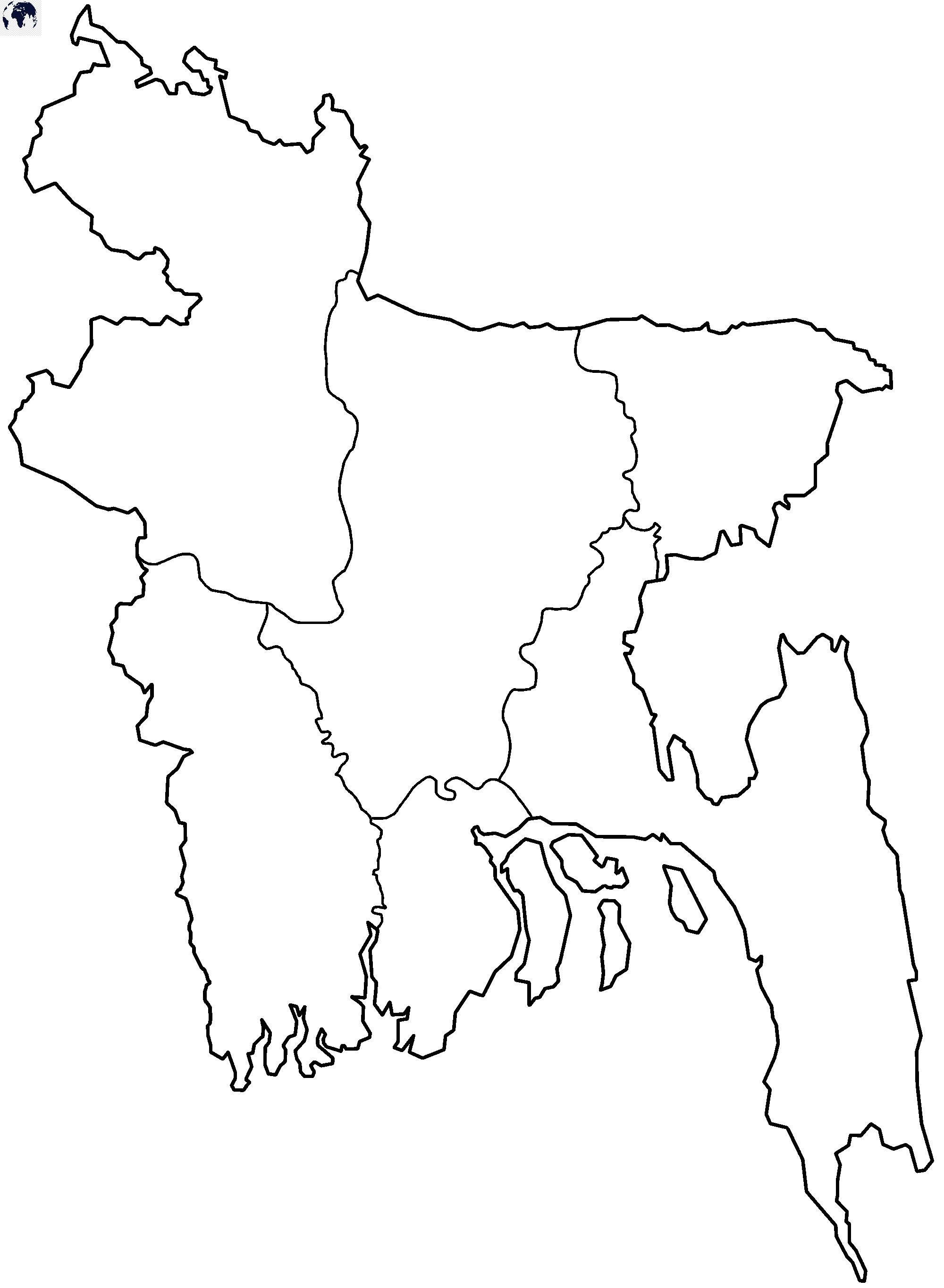 Map of Bangladesh for Practice Worksheet