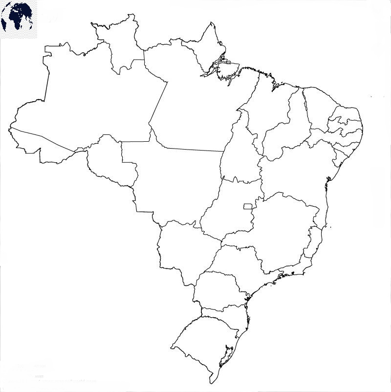Map of Brazil for Practice Worksheet