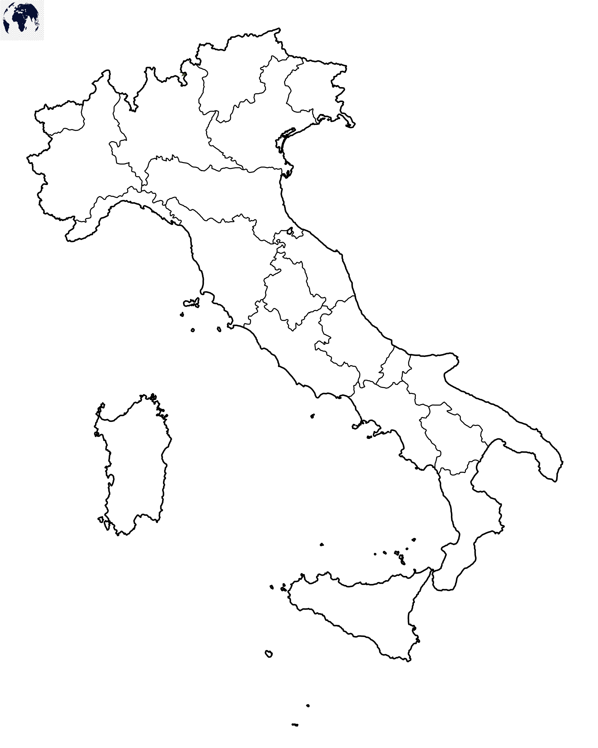 Map of Italy for Practice Worksheet