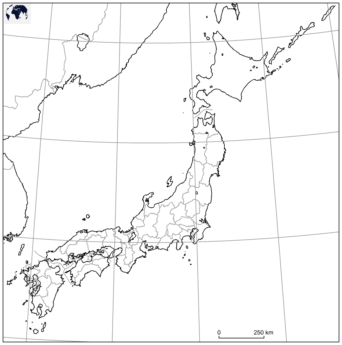 Map of Japan for Practice Worksheet