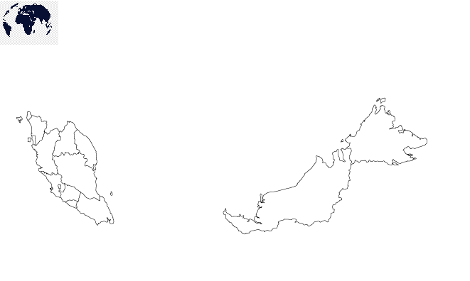 Map of Malaysia for Practice Worksheet
