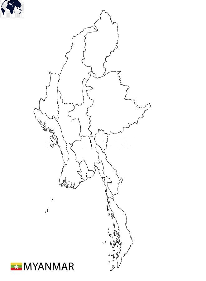 Map of Myanmar for Practice Worksheet