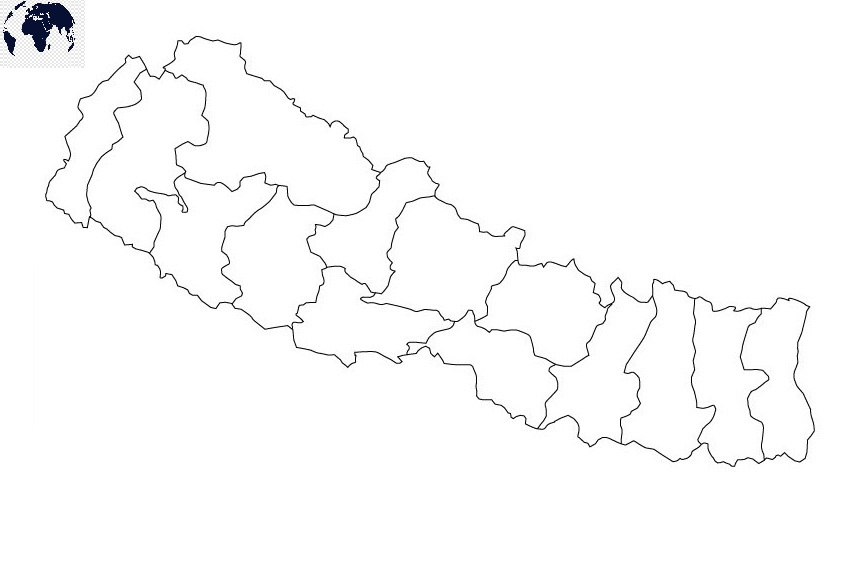 Map of Nepal for Practice Worksheet