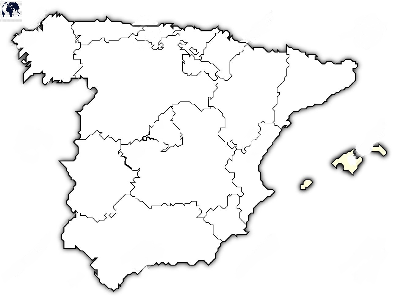 Map of Spain for Practice Worksheet