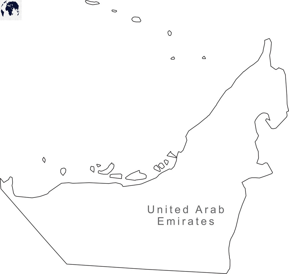 Map of United Arab Emirates for Practice Worksheet