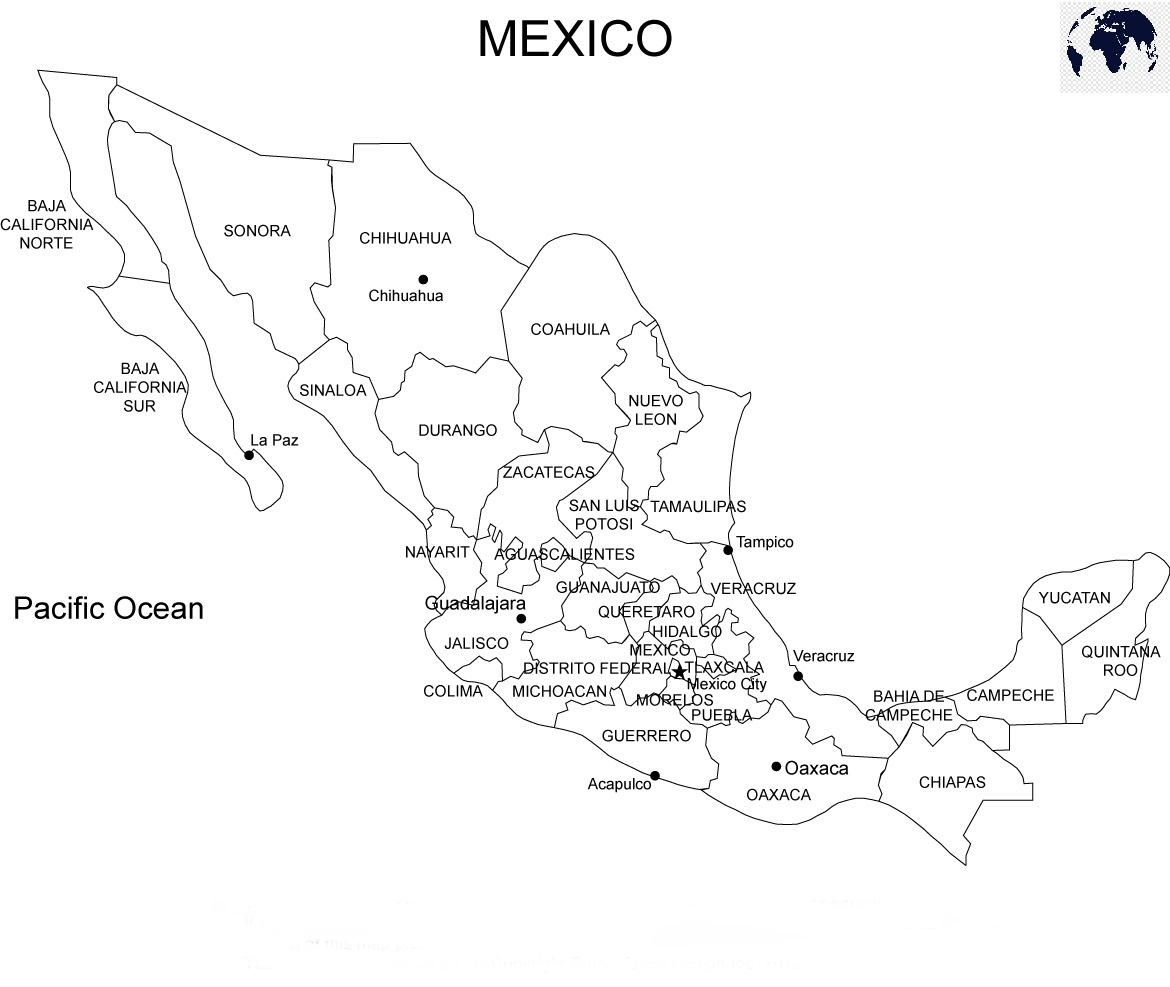 Printable Map of Mexico