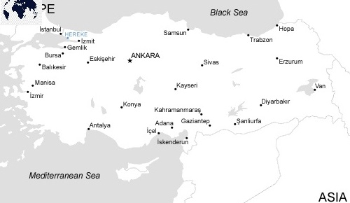 Printable Map of Turkey