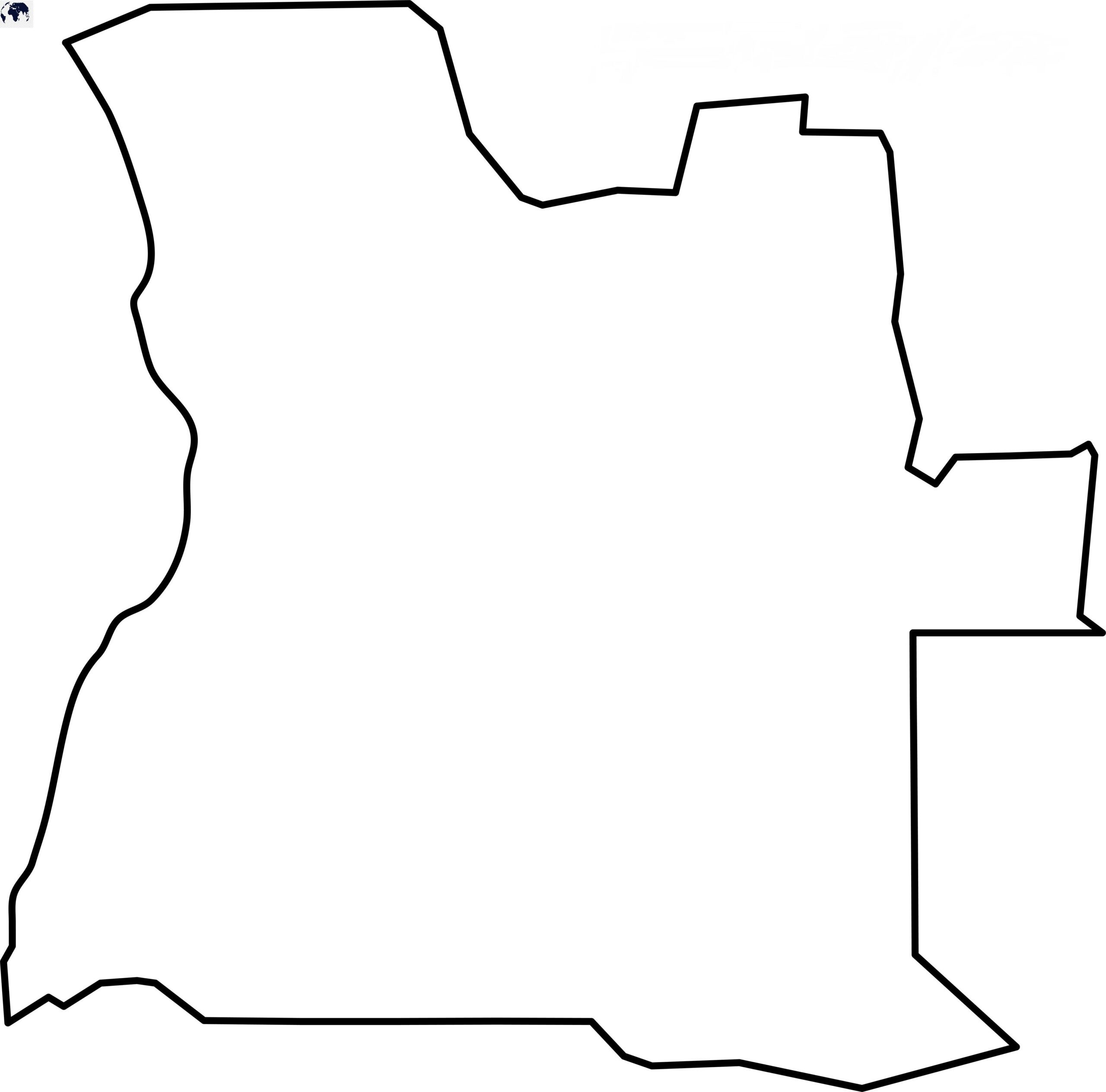 Blank Map of Angola - Outline