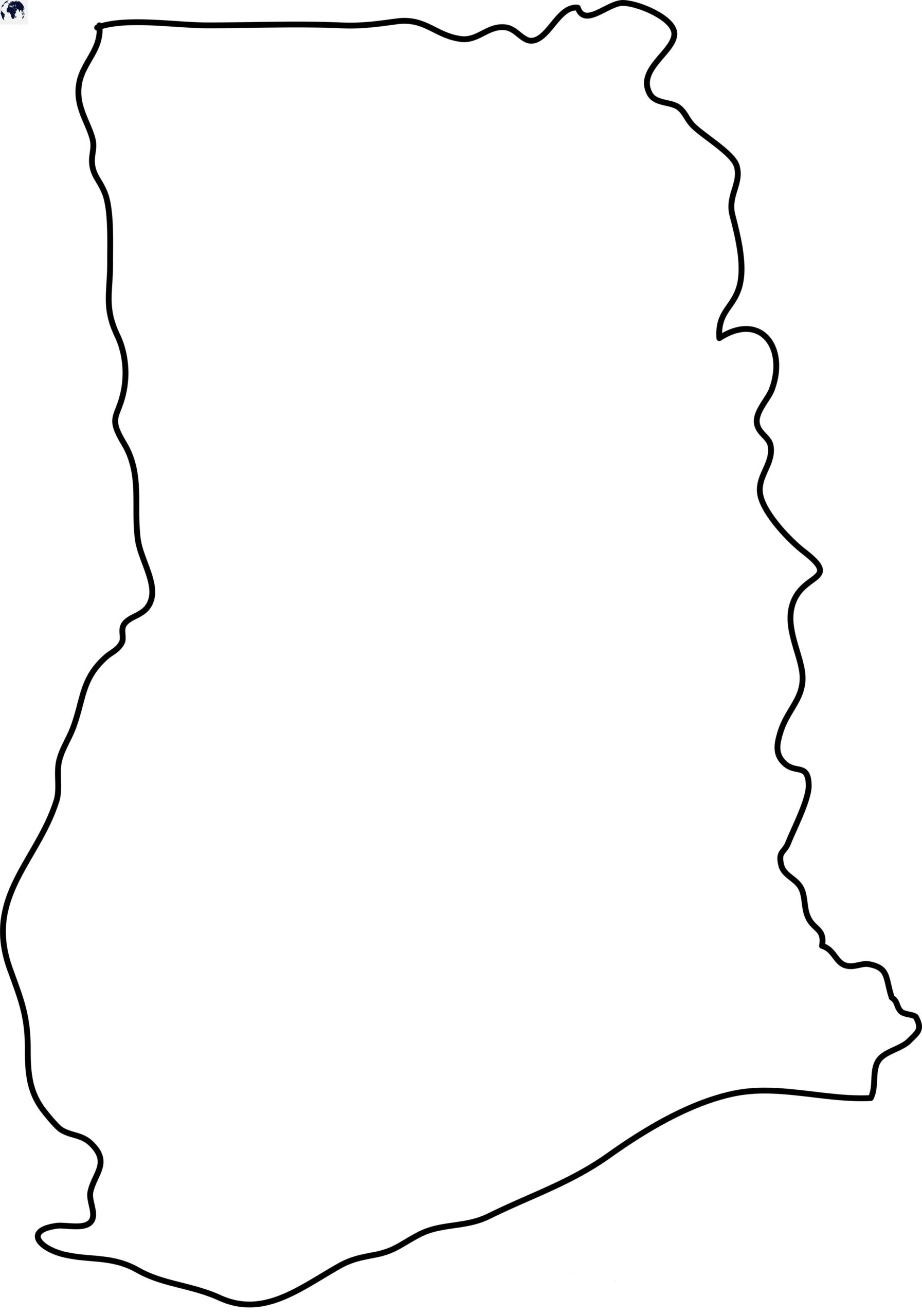 Blank Ghana Map - Outline