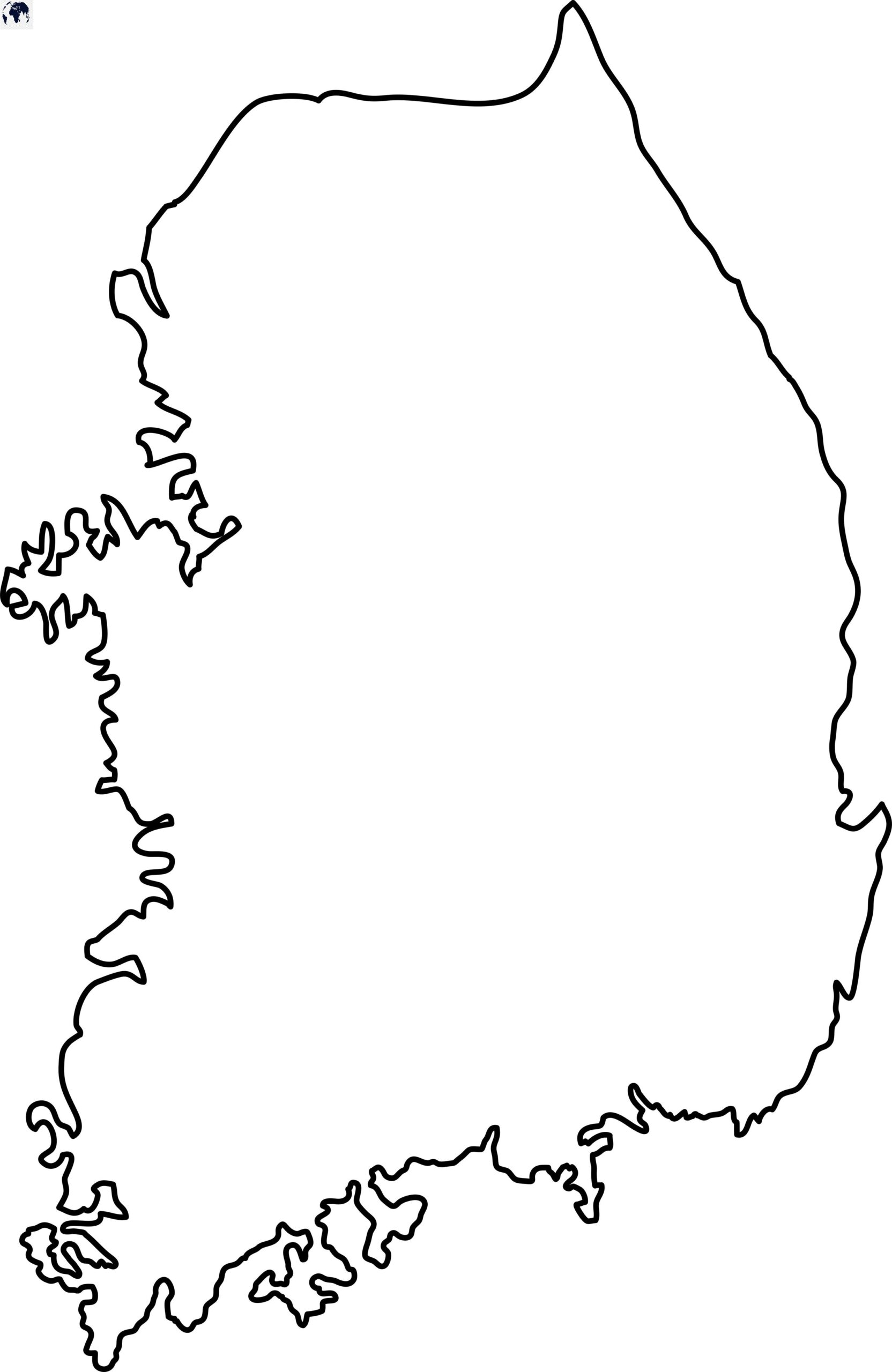 Blank Map of South Korea - Outline