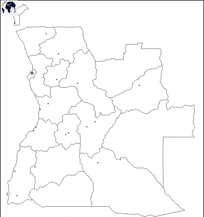 Map of Angola for Practice Worksheet