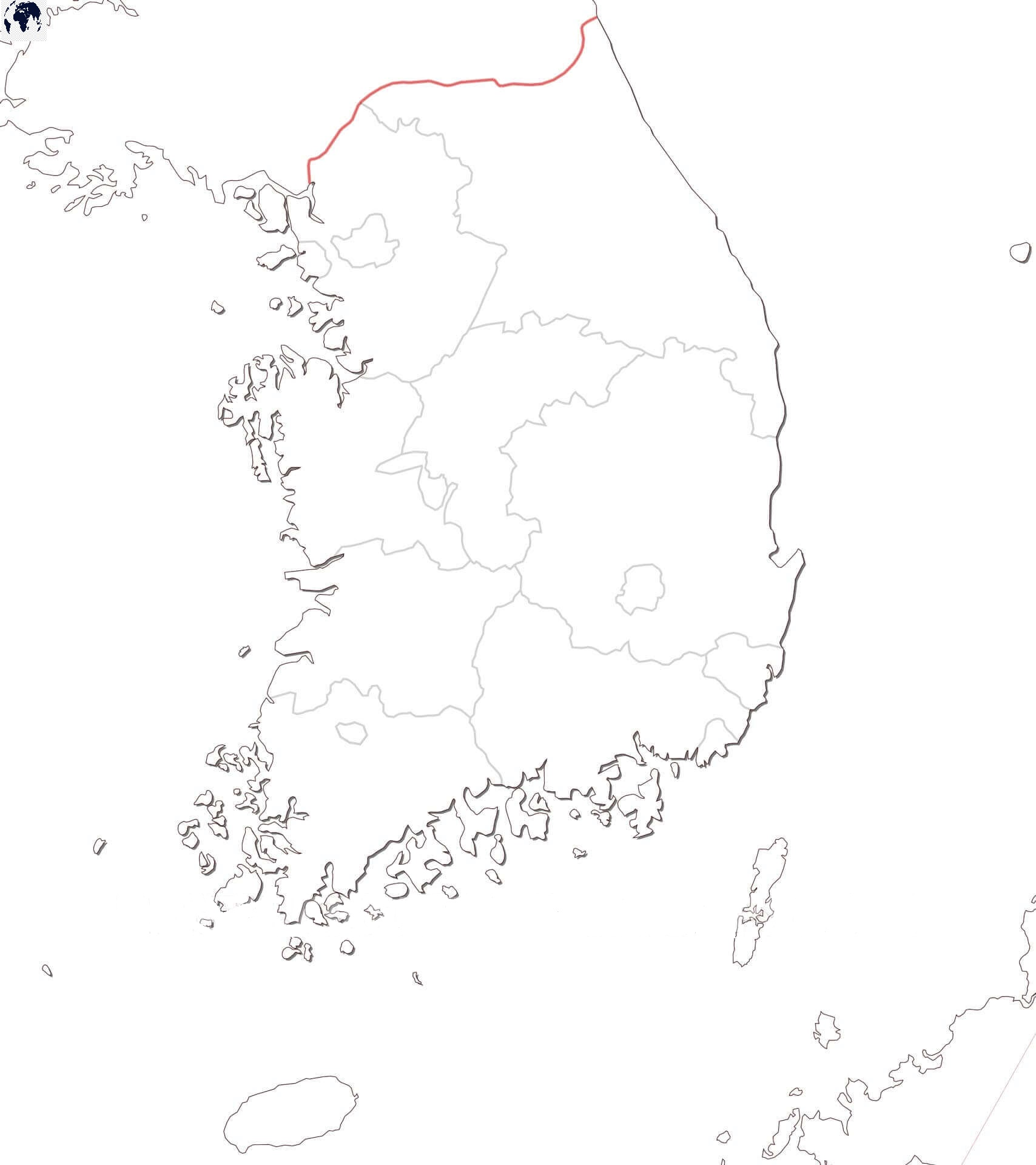 Map of South Korea for Practice Worksheet
