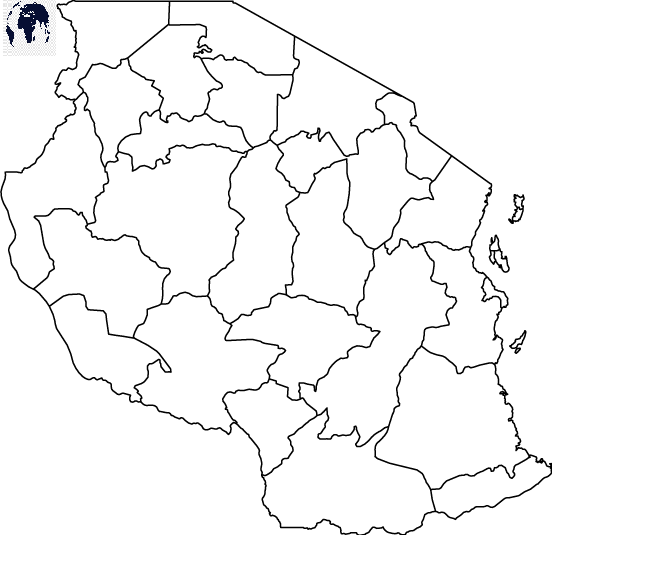 Map of Tanzania for Practice Worksheet