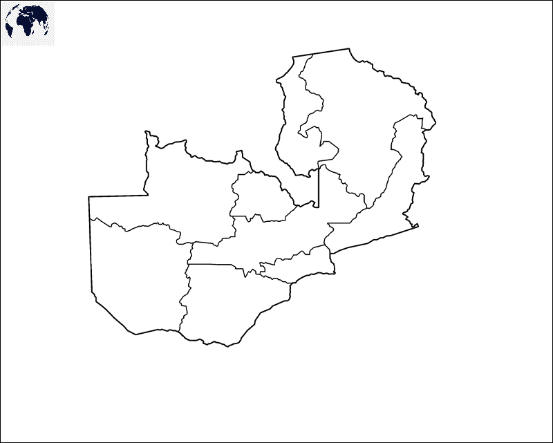 Map of Zambia for Practice Worksheet