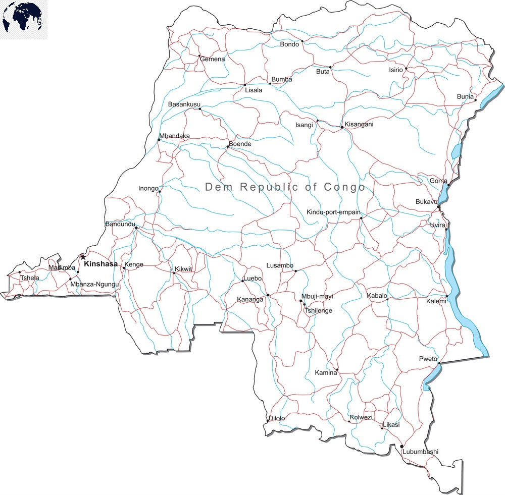 Printable Map of Congo