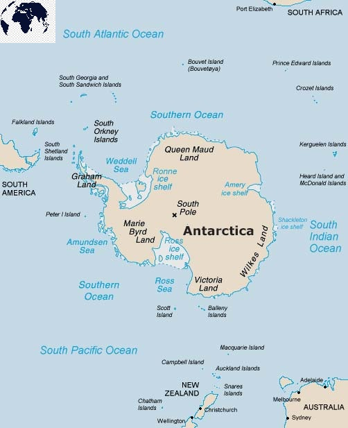 Antarctica Map with Capitals Labeled