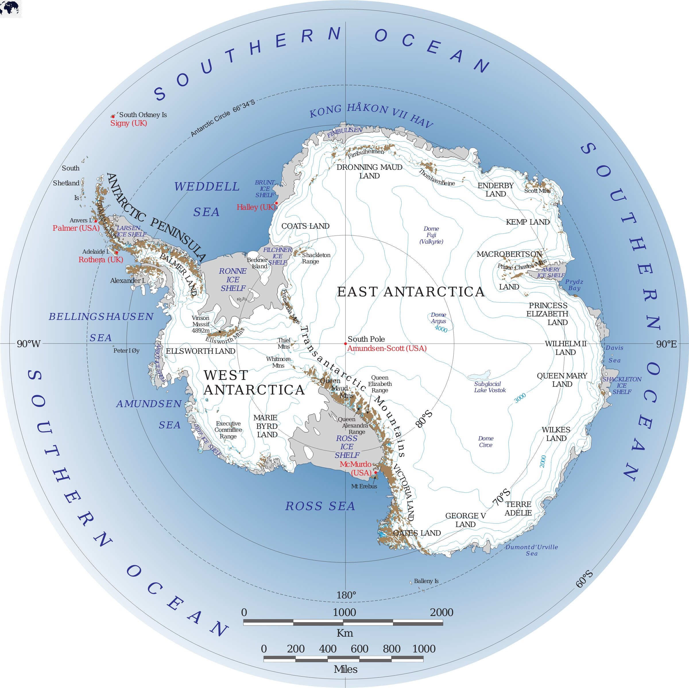 Antarctica Map with Country Names
