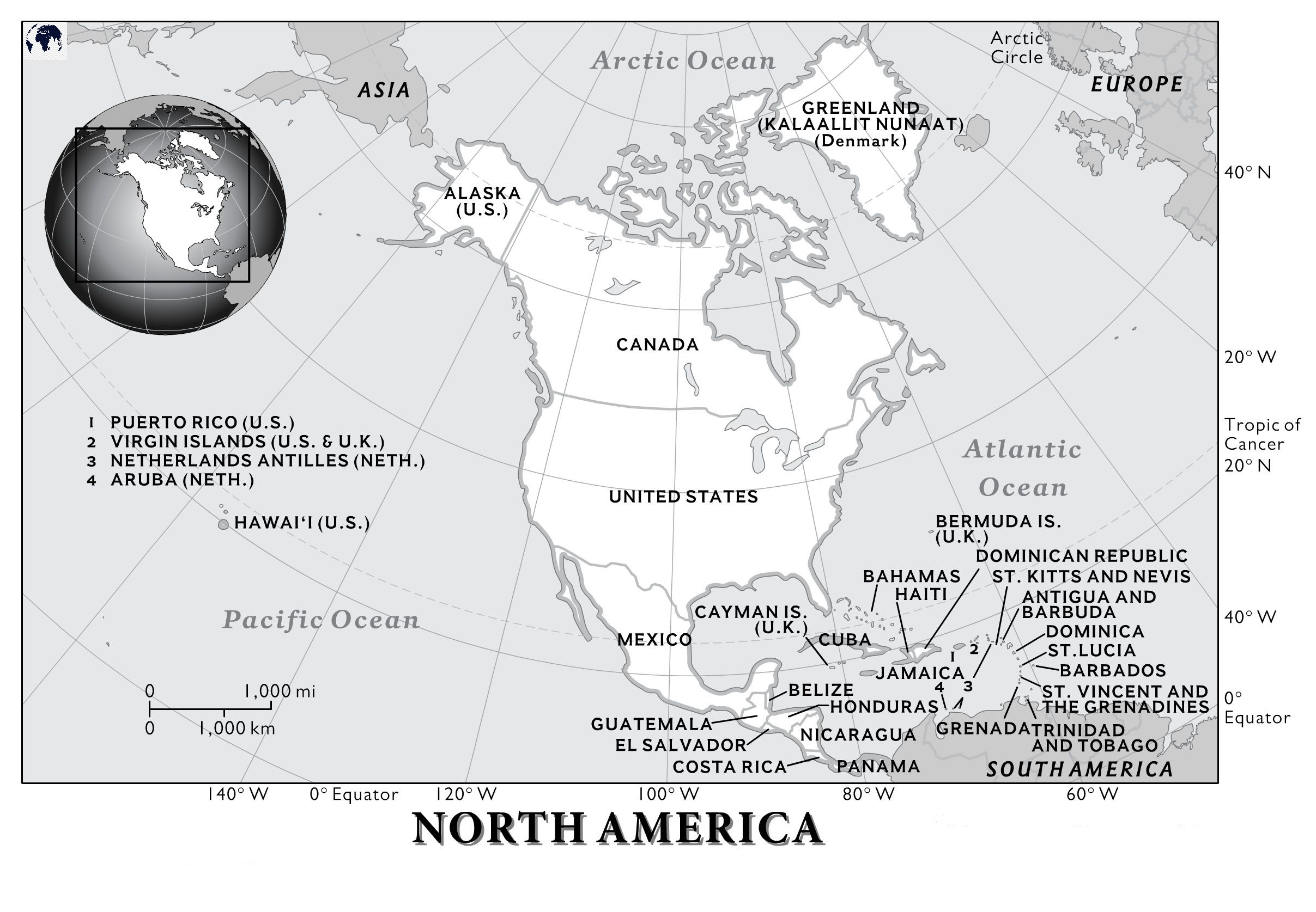 Blank Physical North America Map – Outline