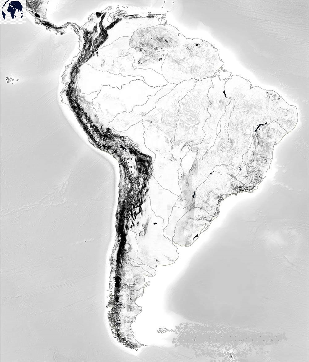 Blank Physical South America Map – Outline