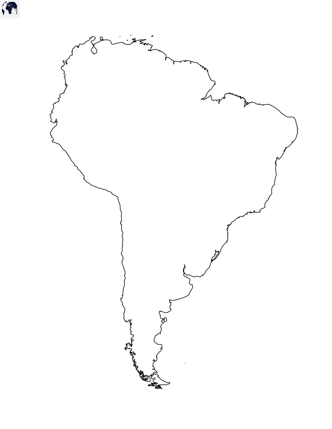 Blank South America Map – Outline