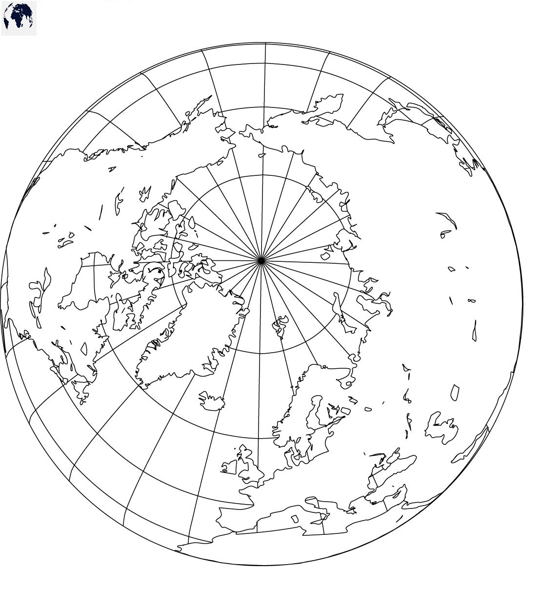 Blank World Map with the North Pole