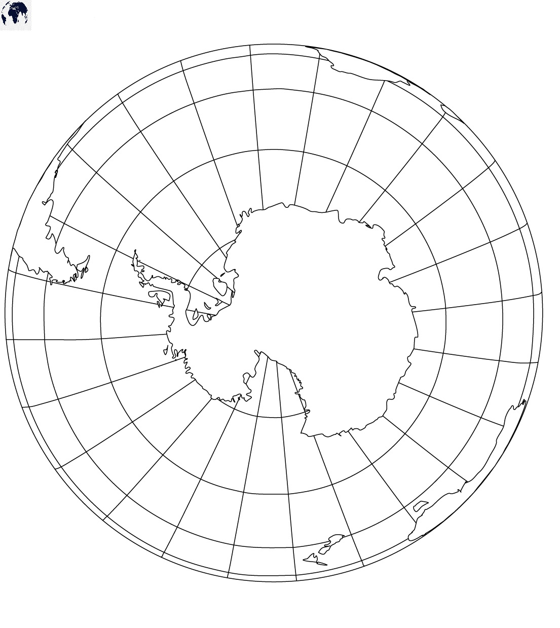 Blank World Map with the South Pole