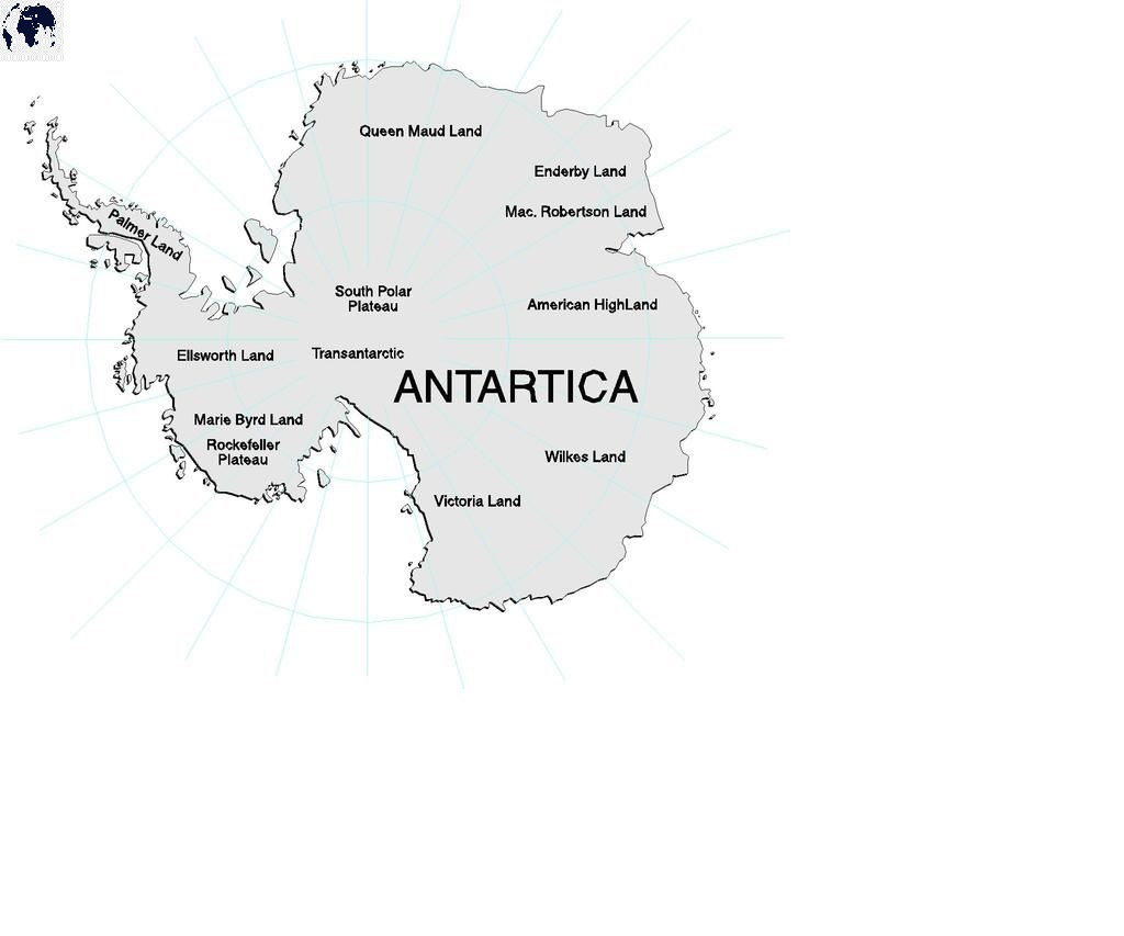 Labeled Map of Antarctica Political with Countries