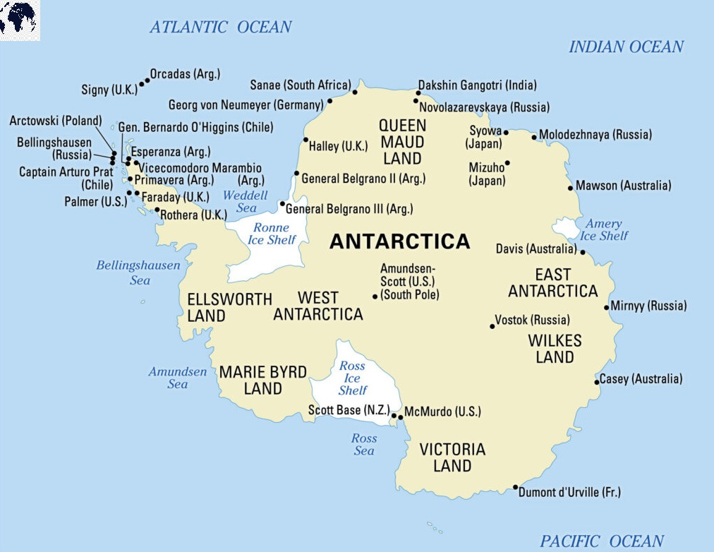 Labeled Map of Antarctica with Countries