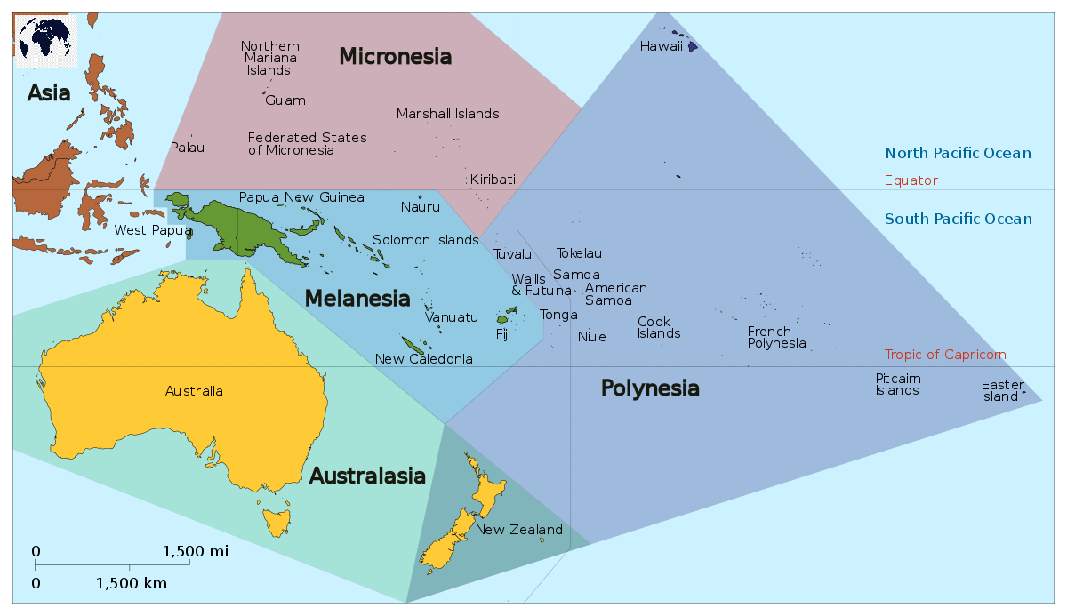 Labeled Map of Oceania Political with Countries