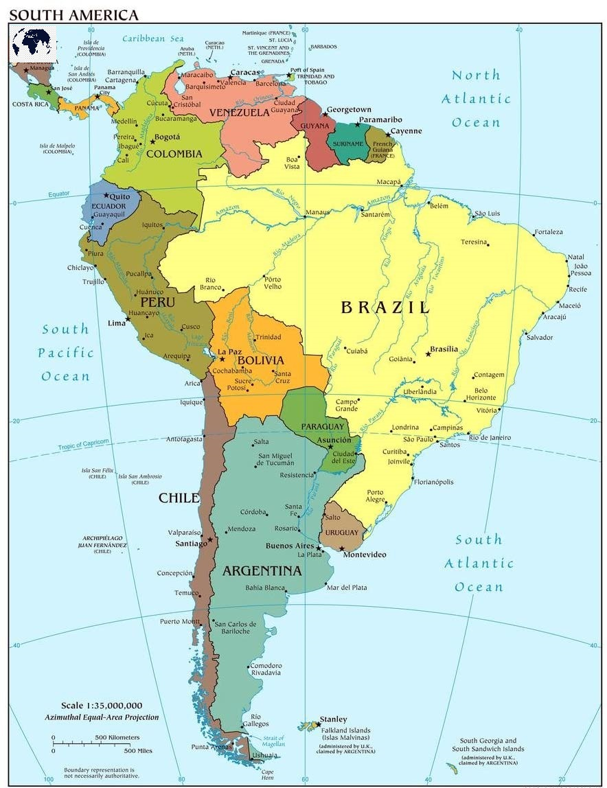 Labeled Map of South America Political with Countries