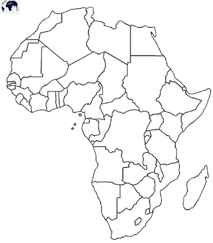 Map of Africa for Practice Worksheet
