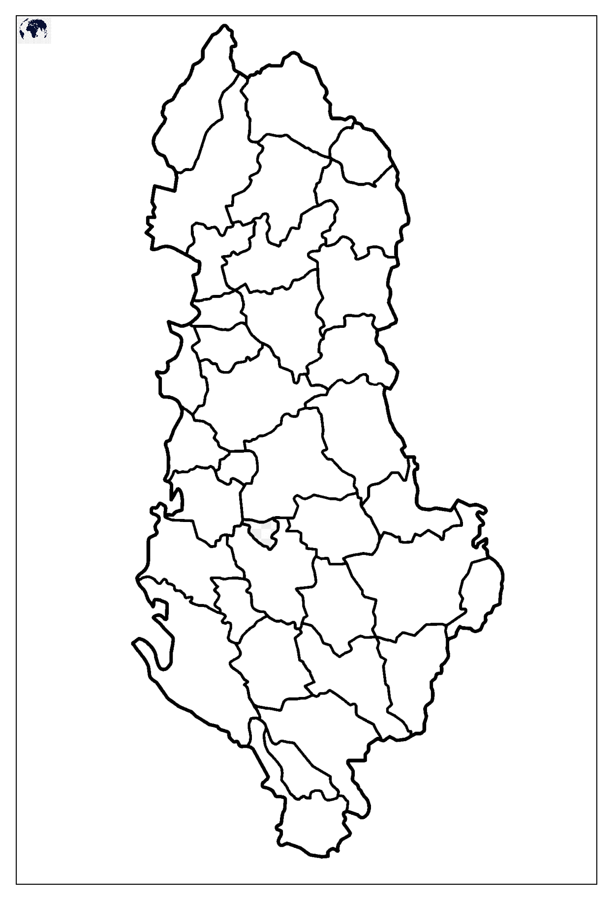 Map of Albania for Practice Worksheet