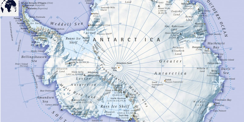 Map of Antarctica Physical