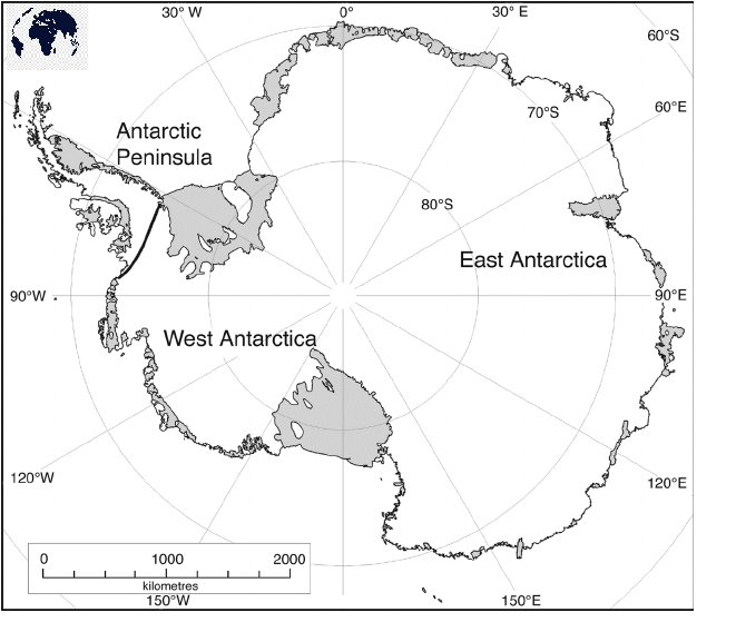 Map of Antarctica for Practice Worksheet