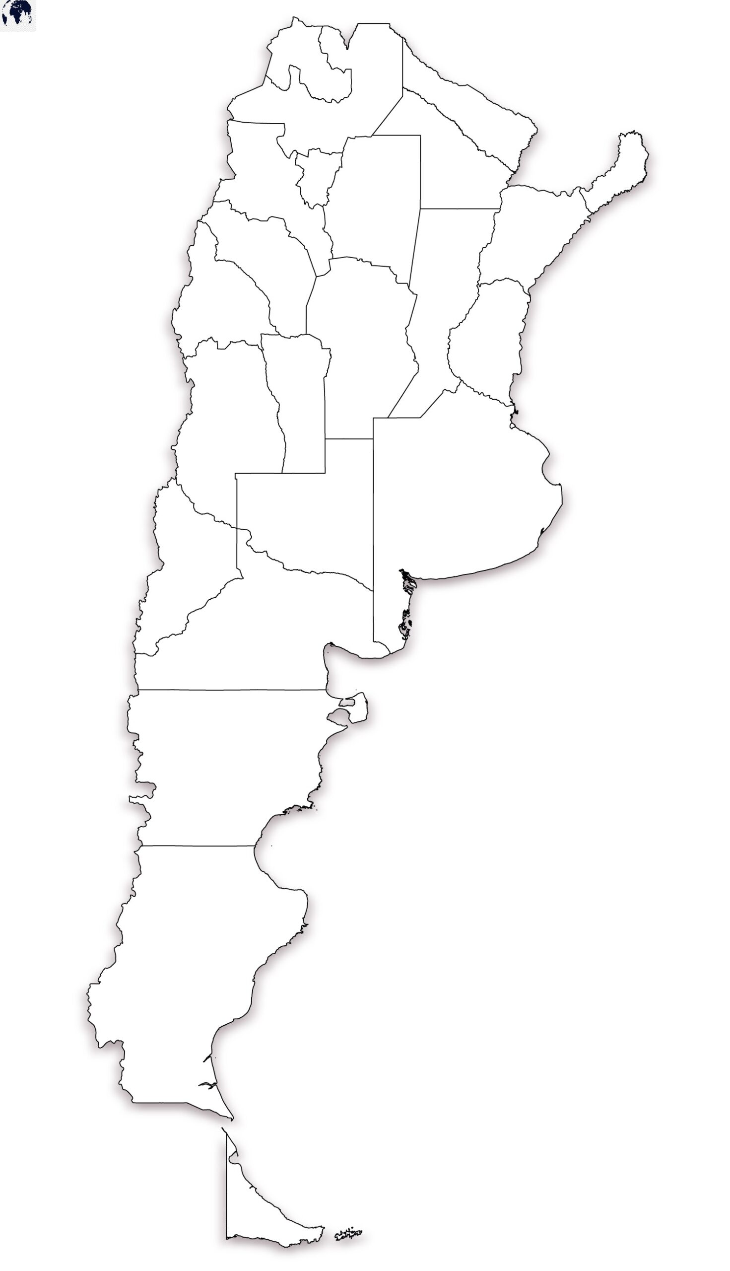 Map of Argentina for Practice Worksheet
