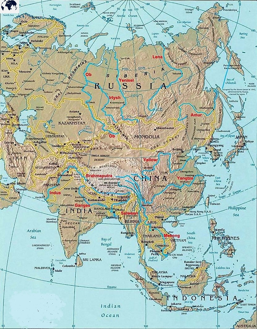 Map of Asia Rivers with Countries