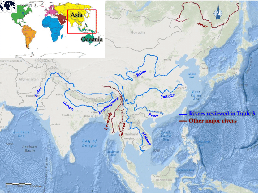 Map of Asia Rivers with Tributaries