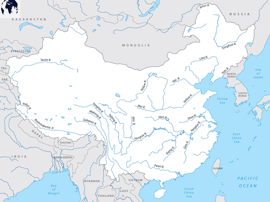 Map of Asia with Rivers