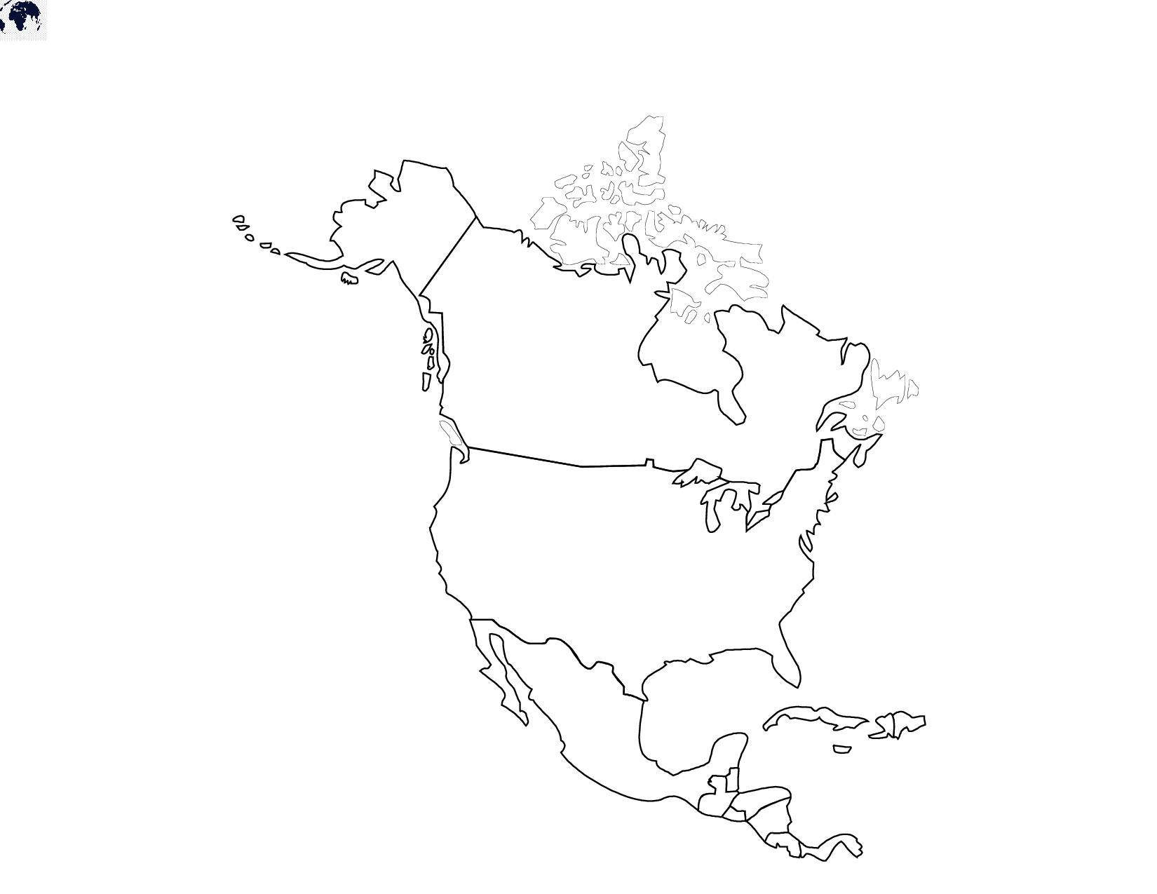 Map of North America for Practice Worksheet