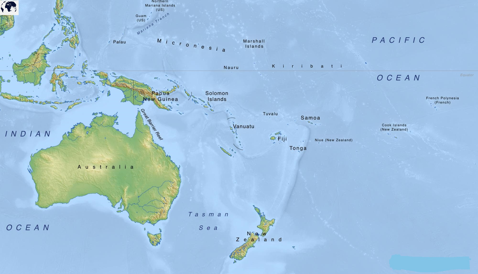 Map of Oceania Physical