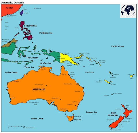 Map of Oceania Political
