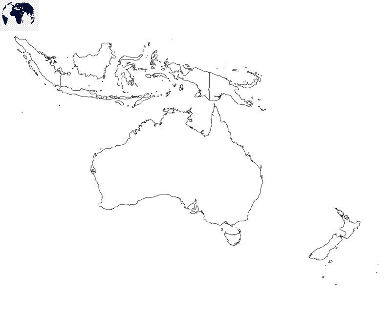 Map of Oceania for Practice Worksheet